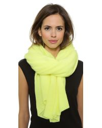 White + Warren Green Cashmere Travel Scarf - Limelight Heather