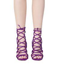 AKIRA Purple Lace Up Heeled Sandals