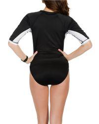Miraclesuit | Black Color-blocked Rash Guard Tankini Top | Lyst