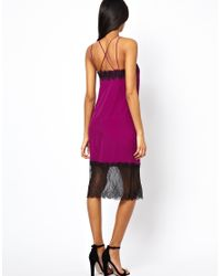 ASOS - Blue Midi Cami Dress With Lace Trim - Lyst