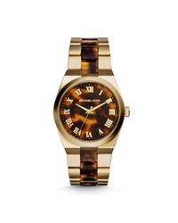Michael Kors - Metallic Channing Gold-tone Tortoise Acetate Watch - Lyst