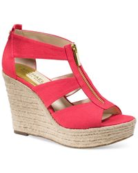 Michael Kors | Red Michael Damita Platform Wedge Sandals | Lyst