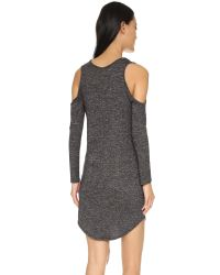 Riller & Fount | Gray Milo Cold Shoulder Dress - Black French Terry | Lyst