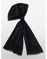 Calvin Klein | Black White Label Tonal Logo Jacquard Scarf | Lyst