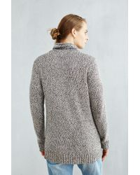 Urban Outfitters | Gray Cable-knit Shawl Sweater for Men | Lyst