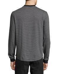Original Penguin - Black Long-sleeve Striped Henley Tee for Men - Lyst