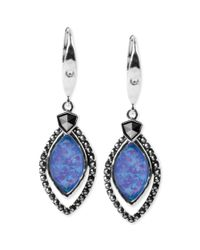 Judith Jack - Cubic Zirconia 110 Ct Tw and Blue Opal Doublet 414 Ct Tw Marquise Drop Earrings - Lyst
