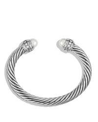 David Yurman Metallic Cable Classics Bracelet With Pearls & Diamonds