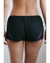 Forever 21 - Black Lace-paneled Pj Shorts - Lyst