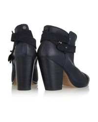 Rag & Bone - Blue Harrow Leather Biker Boots - Lyst