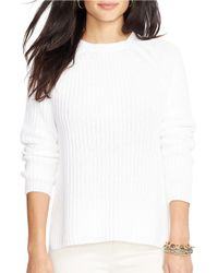 Lauren by Ralph Lauren White Petite Cotton Raglan Sweater