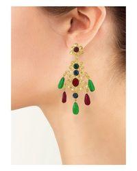 Kenneth Jay Lane - Multicolor Multi-color Filigree Drop Clip Earring - Lyst
