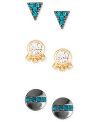 Kenneth Cole | Blue Triangle And Circle Trio Stud Earring Set | Lyst