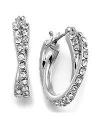 Lauren by Ralph Lauren - Metallic Silvertone Crystal Accent Circle Hoop Earrings - Lyst