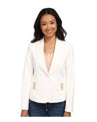 Calvin Klein White One-button Jacket W/ Hardware