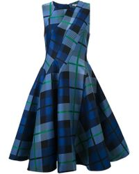 P.A.R.O.S.H. - Blue Checked Flared Dress - Lyst