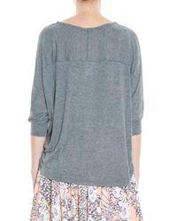 Splendid - Gray Draped T-shirt - Lyst