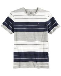 Tommy Hilfiger Gray Striped Crew-neck Logo T-shirt for men
