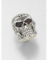 King Baby Studio | Metallic Garnet and Sterling Silver Skull Ring | Lyst