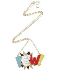 Noir Jewelry | Metallic X Dc Comics Pow 18Kt Gold Plated Necklace | Lyst