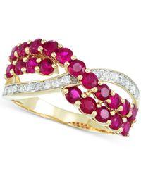 Rare Featuring Gemfields - Metallic Certified Ruby (3/4 Ct. T.w.) And Diamond (1/6 Ct. T.w.) Ring In 14k Gold - Lyst