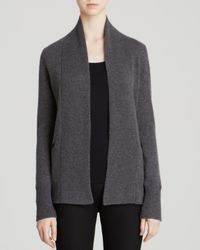 Dylan Gray Gray Leather Trim Cashmere Cardigan