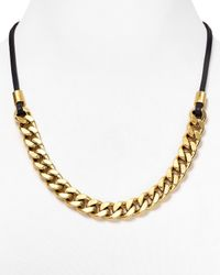 Michael Kors - Metallic Curb Chain Leather Cord Necklace 32 - Lyst