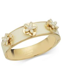 kate spade new york | White New York Gold-tone Ivory Enamel and Faux Pearl Flower Bangle Bracelet | Lyst