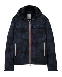 Moncler - Blue Lyon Navy Printed Shell Jacket for Men - Lyst