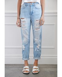 Forever 21 | Blue Distressed Boyfriend Jeans You've Been Added To The Waitlist | Lyst