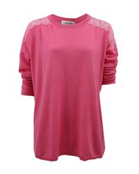 Valentino | Pink Lace Shoulders Knit Top | Lyst