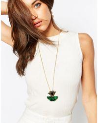 ASOS - Green Arrow Long Pendant Necklace - Lyst