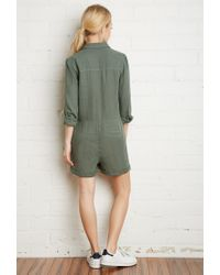 Forever 21 | Green Cotton Utility Romper | Lyst