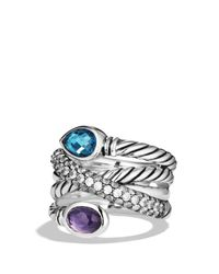 David Yurman | Ultramarine Crossover Ring With Hampton Blue Topaz, Black Orchid & Gray Sapphires | Lyst