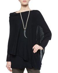 Eileen Fisher | Black Washable Wool-stitch Poncho | Lyst