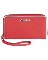 Calvin Klein | Red Metallic Trim Wallet | Lyst