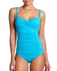 La Blanca | Blue Core Shirred Tankini Top | Lyst