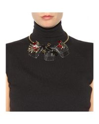 Marni - Black Crystal And Horn-embellished Necklace - Lyst