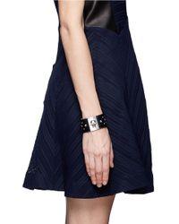 Alexander McQueen Black Studde Leather Bracelet