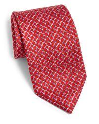Ferragamo - Red Man On A Sled Silk Tie for Men - Lyst