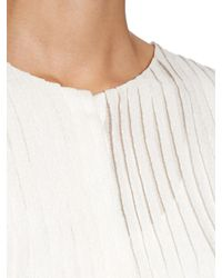 Chloé White Pleated Silk-cloqué Blouse