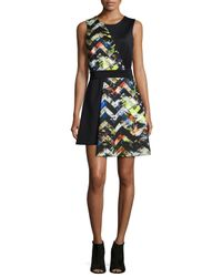 MILLY | Multicolor Zigzag-print Asymmetrical Dress | Lyst