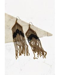 Urban Outfitters | Metallic Beaded Fringe Drop Earring | Lyst