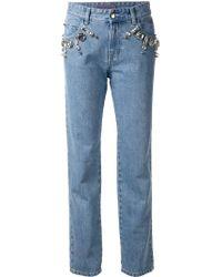 Emanuel Ungaro Blue Embellished Loose-Fit Straight Denim Jeans