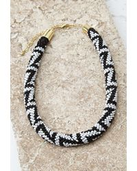 Forever 21 | Black Beaded Rope Collar Necklace | Lyst
