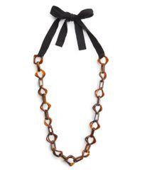 Mango | Black Tortoiseshell Effect Link Necklace | Lyst