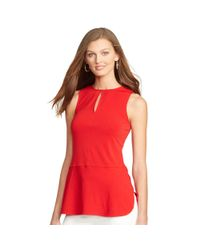 Ralph Lauren | Red Keyhole Sleeveless Top | Lyst