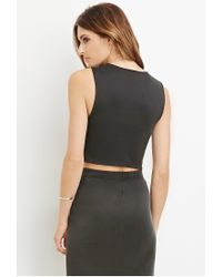 Forever 21 | Gray Curved-hem Crop Top | Lyst