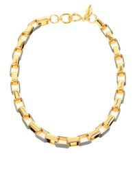 Diane von Furstenberg | Metallic Holiday Color Leather-trimmed Link Necklace | Lyst