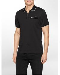 Calvin Klein | Black White Label Classic Fit Multi Stripe Tipped Cotton Polo Shirt for Men | Lyst